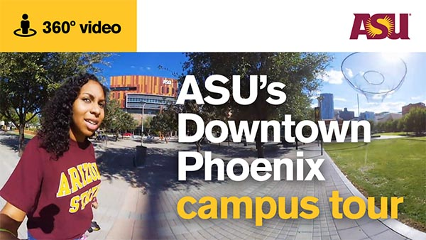 asu student giving a tour of the downtown campus