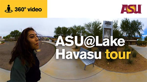 asu student giving a tour of the Havasu campus
