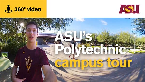 asu students giving a tour of the polytechnic campus