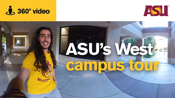 ASU student giving a tour of the West campus